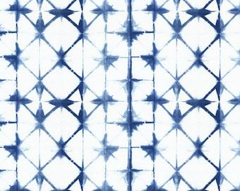 Shibori Fabric - Shibori 13 By Jillbyers - Shibori Indigo and White Home Decor Cotton Fabric By The Yard With Spoonflower