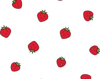 Kawaii Strawberries Fabric - Strawberry Dots By Eleventy-Five - Cute Fruits Kids Summer Food Cotton Fabric By The Yard With Spoonflower