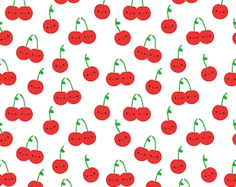 Cherry Cutie Fabric - Cheery Cherries By Clayvision - Kawaii Cute Summer Fruit Retro Kids Cotton Fabric By The Yard With Spoonflower