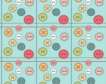 Sewing Buttons Fabric - The Joy Of Sewing By Zarawesterberg - Colorful Sewing Craft Cotton Fabric By The Yard With Spoonflower