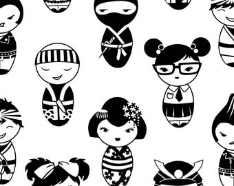 Japanese Dolls Fabric - Japanese Dolls Bw By Cherii - Black and White Kawaii Japanese Dolls Cotton Fabric By The Yard With Spoonflower