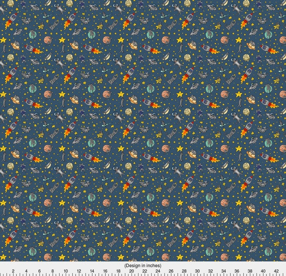 Space cat fabric astro cats by amber morgan galaxy for Space fabric by the yard