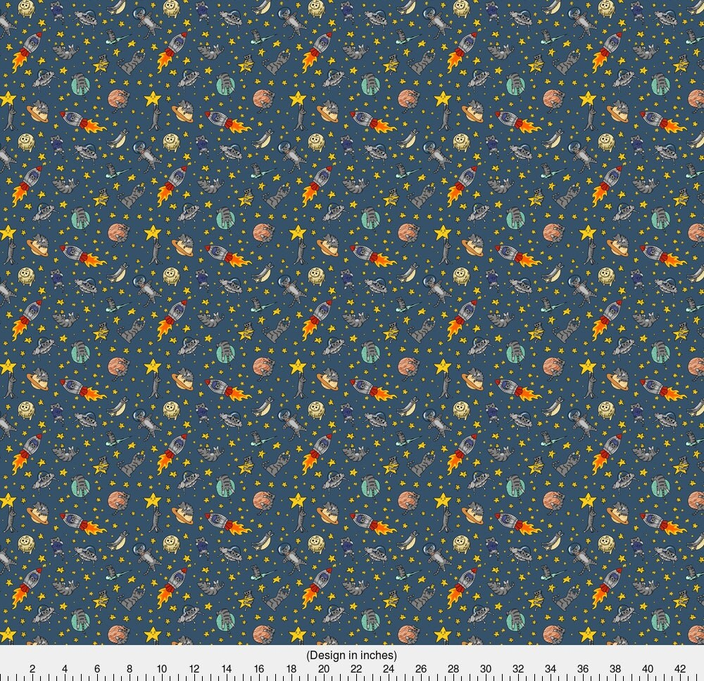 Space cat fabric astro cats by amber morgan galaxy for Galaxy fabric canada