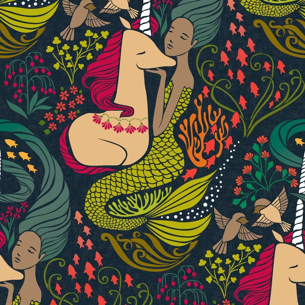 Mermaid And Unicorn Fabric The Mermaid And The Unicorn