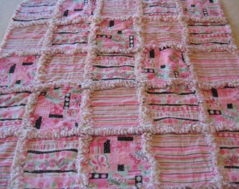 Butterfly and Flowers Rag Blanket Baby Girl Shower Gift Crib Rag Blanket Stroller Butterfly Pink Rag Blanket Pink  Rag Quilt Blanket 35x35