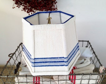 """Small Lamp Shade, Blue Stripe Lampshade handmade from a Linen Towel, 6"""" across the top by 8"""" bottom by 6"""" high, clip top - Farmhouse Decor"""