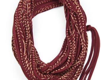 Burgundy & Gold Infinity Scarf, Jersey Layered Scarf, Fabric Statement Necklace, Jersey Cotton, Chunky, Trendy, Fashion Accessories, Gift