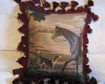 Handmade ENGLISH FOXHUNT Small Horse Pillow w/Burgundy Tassel trim Quality Upholstery Fabric BrownTones