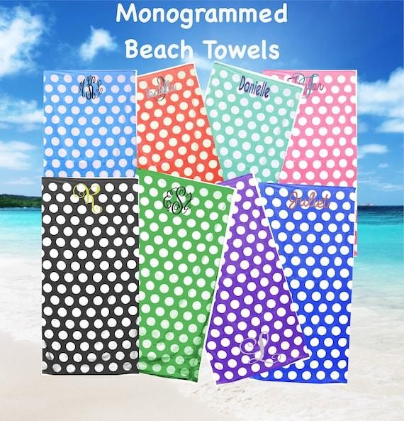 Monogrammed Polka Dot Beach Towels Polka Dot Personalized