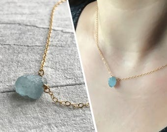 Raw Aquamarine Necklace - Delicate Gold Filled Rough Aquamarine Necklace, March Birthstone