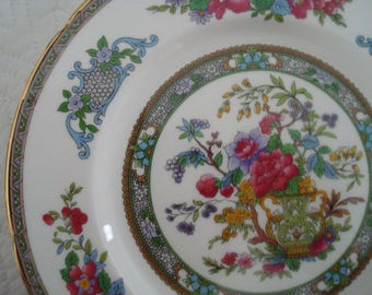 Paragon Tree of Kashmir Luncheon Plate, Salad Plate, Fine Bone China, England, Magenta, Blue, Green, Gilding, Gilded, Fancy Plate