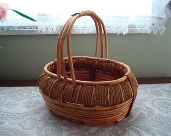 Sturdy Oval Rope and Twig Basket, Handled Basket, Decorative, Storage, Utility, Reddish Brown, Stylish, Woven Basket