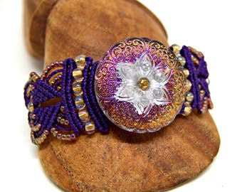 Iridenscent Purple Macrame Bracelet with Czech Glass Button - Micro Macrame Bracelet - Intricate Knotted Bracelet