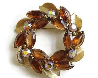 Juliana Style Rhinestones Circle Brooch Leaf & Amber and Aurora Borealis Vintage