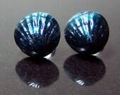 Small Blue Sparkle Cockleshell Ear Studs No. 1 - Handmade Glass Shell Lampwork Post Earrings SRA