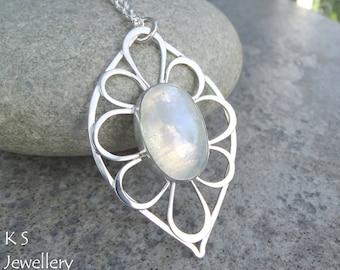 Rainbow Moonstone Petal Leaf Frame Sterling Silver Pendant - Gemstone Flower - Handmade Metalwork Wirework Jewelry - Garden Floral Petals
