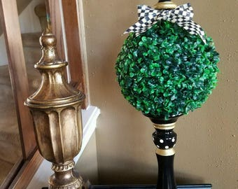 """Mac Kenzie Child courtly check ribbon on my custom painted candlestick topiary. It measures 25"""" tall x 9"""" diameter."""