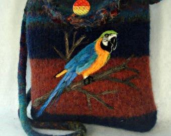 Felted Purse, Felted Handbag, Parrot Art, Needle Felt Parrot, Bird Art