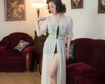 Vintage 1930s Peignoir - Airy Sheer Ivory Silk Chiffon and Cream Lace Peignoir Robe with Pale Blue Bridal Trousseau