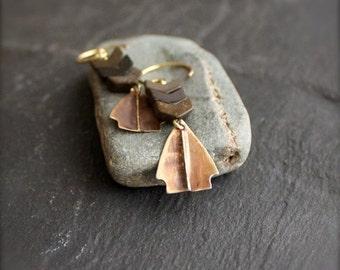 ON SALE Jasper Chevron, Brass Arrowhead Earrings - Brown Brass Charm, Stacked Stone, Boho Chic, Bohemian Festival Jewellery
