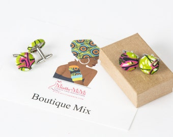 Pink and green cufflinks gifts for men