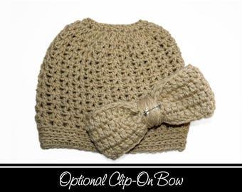 Tan Messy Bun Hat, Tan Ponytail Hat, Camel Colored, Mom Bun Hat, Messy Bun, Pony Hat, Messy Bun Beanie, Crochet Bun Hat, Messy Ponytail Hat