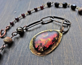 """Dark rustic art necklace with dichroic glass- """"Nocturne"""""""