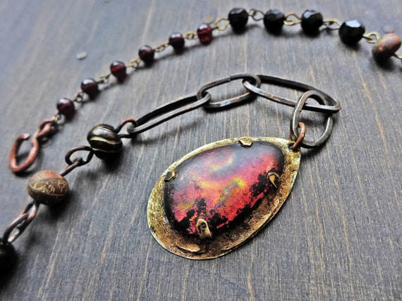"Dark rustic art necklace with dichroic glass- ""Nocturne"""