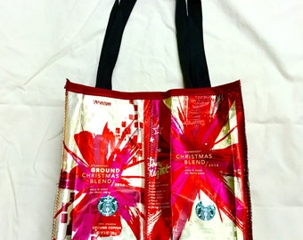 Handmade Purse Made With Recycled Christmas Starbucks Coffee bags upcycled repurposed