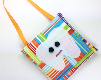 Orange yellow red blue green patchwork tooth fairy pillow w/ pocket RTS, felt applique embroidered mouth boy lost tooth fairy bag pouch gift