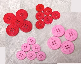 Sew Through Anchor Buttons - CHOOSE 18mm 3/4 inch, 25mm 1 inch - Red, Pink Plastic Pea Coat Nautical Ship Anchor Sewing Buttons PL581 PL582
