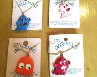 Vintage 80s Ms Pac Man Set of 4 Charm Necklaces Novelty Video Game Memorabilia