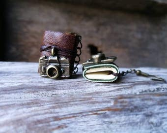 S.A.L.E 50%Camera Miniature books Earrings Brown and green leather