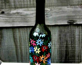 Hand Painted Dish Soap Dispenser, Dark Green Wine Bottle, Colorful Flowers, Wine Bottle Soap Bottle, Oil and Vinegar Bottle