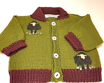 Baby Cardigan/Hand Knit Wool/Hand Knit/Sheep Baby Cardigan/Newborn-18mos/Debby Ware/Martha's Vineyard/Sheep Cardigan/Hand Knit/Baby Knit