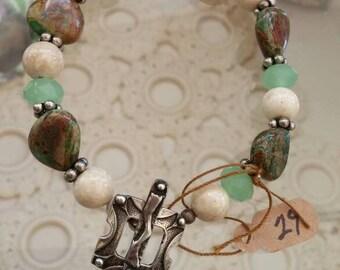 stone beaded bracelet silver toggle clasp
