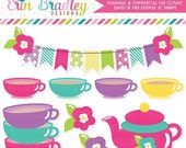 60% OFF SALE Tea Party Girls Clipart Graphics Digital Clip Art Bunting Teapot Teacups and Flowers in Pink Teal Blue Yellow & Purple