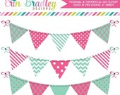 60% OFF SALE Clipart Banners Bunting Graphics Instant Download Clip Art in Pink and Blue Green Personal & Commercial Use