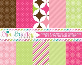 50% OFF SALE Digital Scrapbook Papers Personal and Commercial Use Pink Green Brown Argyle & Polka Dots