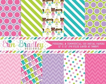50% OFF SALE Cheerleaders Digital Paper Set, Commercial Use Digital Scrapbook Papers, Instant Download Graphics