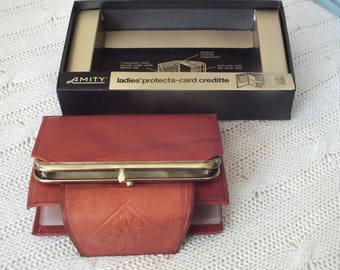 Brown leather wallet from AMITY from 70s perfect new condition credit card and wallet combined for MOM?