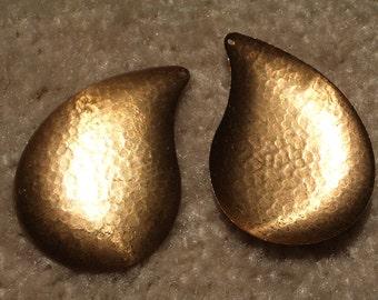1 Piece 55mm x 40mm Hammered Brass Tear Drop Vintage Metal Pendant