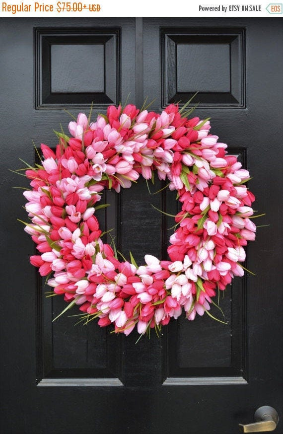 SPRING WREATH SALE Thin Spring Tulip Wreath, Front Door Wreath, Storm Door Wreath, Spring Wreath, Silk Flower Wreath, Tulip Wreaths, Sizes 1