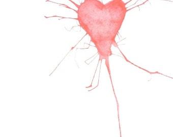 Organic Heart, a one-of-a-kind original art Valentine card 5x7 watercolor by Nan Henke