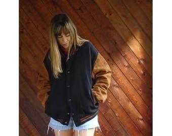 25% off Flash Sale . . . Suede Brown + Navy Wool Varsity Jacket - Vintage 90s - L