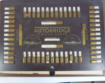 Vintage  1942 Full Size Autobridge Playing Board, Game Deal Cards, Autobridge Game Magazine Group N  Learn to Play Bridge Tutorials