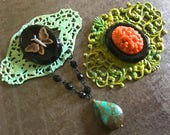 Vintage Necklace or Brooch Components Filigree Patina Vintage Glass Butterfly Pavilion Assortment