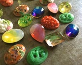 Ten Matched Pairs Vintage Glass Cabs 18x13mm Lucinda's Garden Assortment