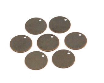 Dark Coin Tag, 50 Antique Brass Stamping Tags, Cabochon Tag, Charms, Findings  (12mm)   K007
