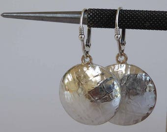 sterling silver hollowform earrings patterned hallmarked 9ct gold accent